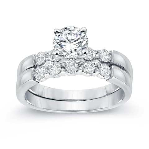 Auriya 14k Gold 1 1/2ctw Classic 5-stone Diamond Engagement Ring Set