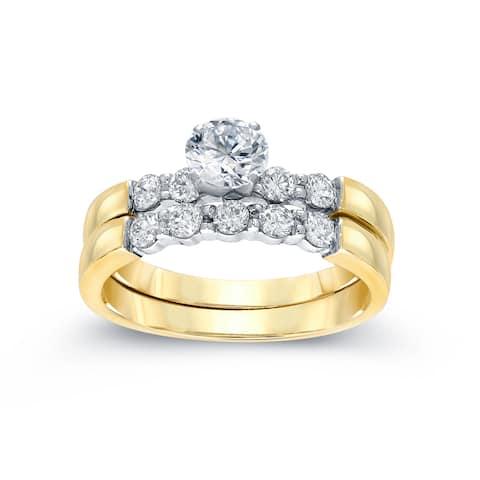 Auriya 14k Gold 1 1/2ctw Classic 5-stone Diamond Engagement Ring Set 14k Two-Tone Gold