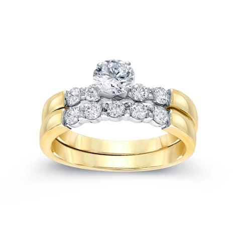 Auriya 14k Two-Tone Gold 1 1/2ctw Classic 5-stone Diamond Engagement Ring Set