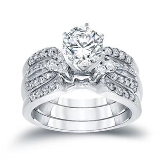 Auriya 1 1/5ctw Round Diamond Engagement Ring 3pc Set 14k Gold