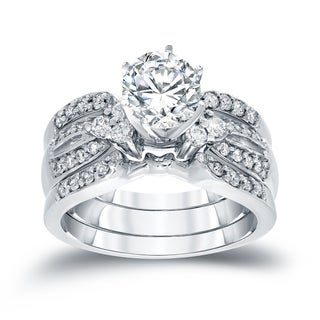 Auriya 14k White Gold 1 1/5ct TDW Round Cut Diamond Bridal Ring Set (H-I, SI2-SI3)