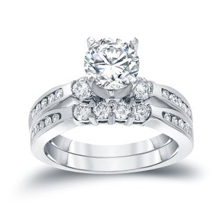 Auriya 14k White Gold 1ct TDW Round Cut Diamond Bridal Ring Set (H-I, SI2-SI3)