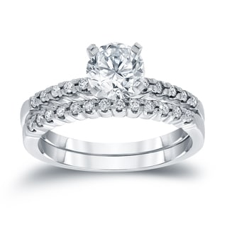 Auriya 14k White 3/4ct TDW Round Cut Diamond Bridal Ring Set (H-I, SI2-SI3)