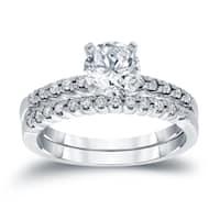 Auriya 14k White 3/4ct TDW Certified Round Diamond Engagement Ring Set
