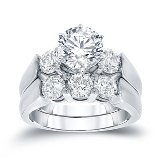 Auriya 14k White Gold 2ct TDW Certified Round Diamond Engagement Ring Bridal Set