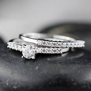 Auriya 14k White Gold 1/2ct TDW Certified Round Diamond Bridal Ring Set