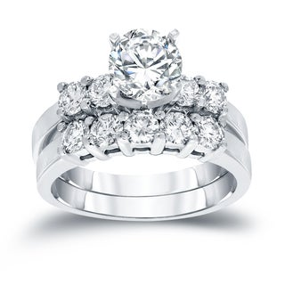 Auriya 14k White Gold 1 1/2ct TDW Round Diamond Bridal Ring Set (H-I, SI2-SI3)