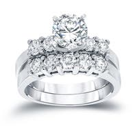 Auriya 14k White Gold 1 1/2ct TDW Round Diamond Engagement Ring Bridal Set