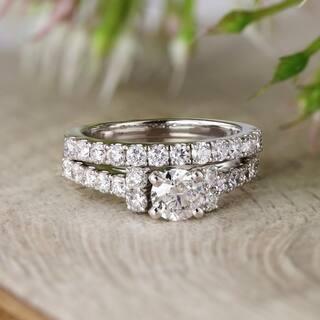 Auriya 14k Gold 2 carat TW Classic Round Diamond Engagement Ring Set