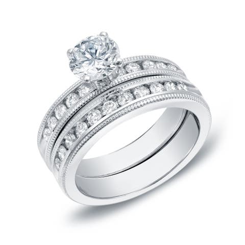 Auriya 14k Gold 1 1/2ctw Classic Round Diamond Engagement Ring Set