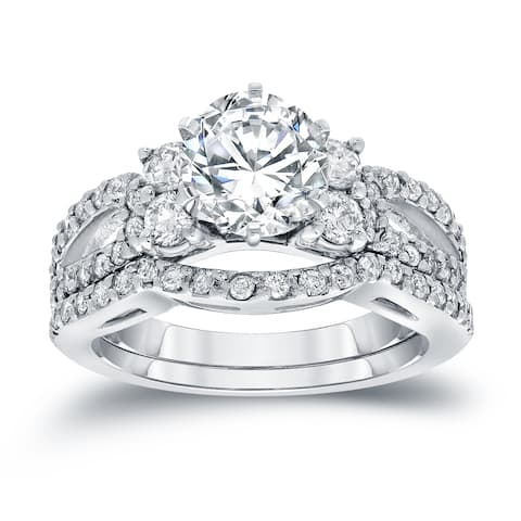 Auriya 14k Gold 2ctw Round Diamond Engagement Ring and Wedding Band Set Certified