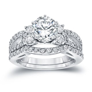 Auriya 14k White Gold 2ct TDW Round Cut Diamond Bridal Ring Set (I-J, SI2-SI3)