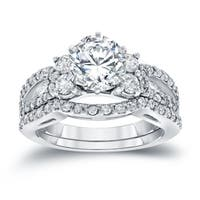 Auriya 14k White Gold 2ct TDW Certified Round-cut Diamond Engagement Ring Bridal Set