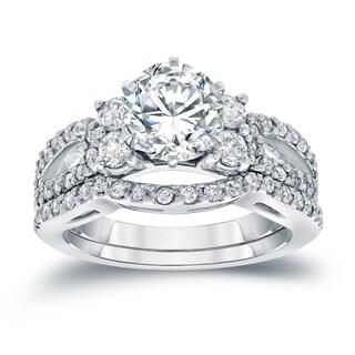 Auriya 14k White Gold 2ct TDW Certified Round-cut Diamond Engagement Ring Bridal Set