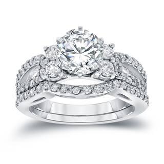 Auriya 2 carat TW Round Diamond Engagement Ring and Wedding Band Set 14k Gold Certified