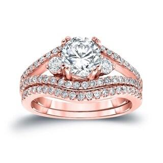 Auriya 14k White Gold 1 1/2ct TDW Round Cut Diamond Bridal Ring Set (G-H, SI2-SI3)