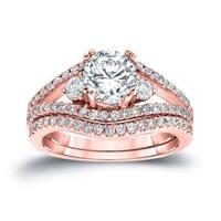 Auriya 14k Gold 1 1/2ct TDW Certified Round Diamond Engagement Ring Set