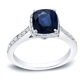 Auriya 14k Gold 1 1/2ct Blue Sapphire and 1/2ct TDW Diamond Halo Engagement Ring (H-I, SI1-SI2)