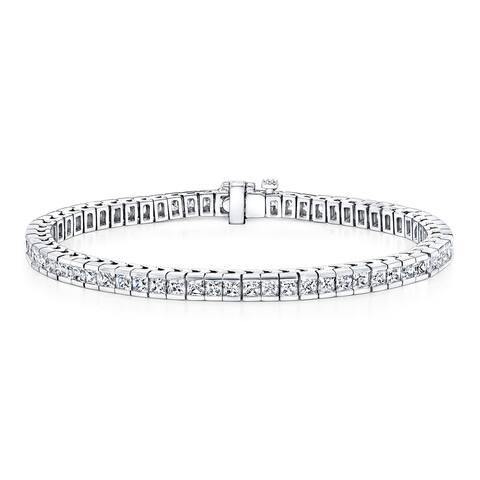 Auriya 4 carat TW Princess-cut Diamond Tennis Bracelet Channel-set 14k Gold - 7-inch
