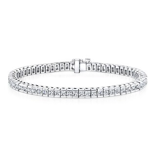 Auriya 14k Gold 4ct TDW Princess Cut Diamond Tennis Bracelet