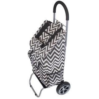 As Seen On TV Black Chevron Trendy Trolley Dolly Rolling Shopper Tote