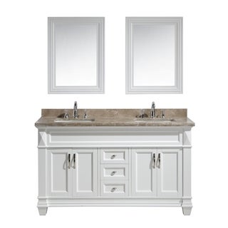 Design Element Hudson 60-inch Double Sink Vanity Set in White with Marble Top
