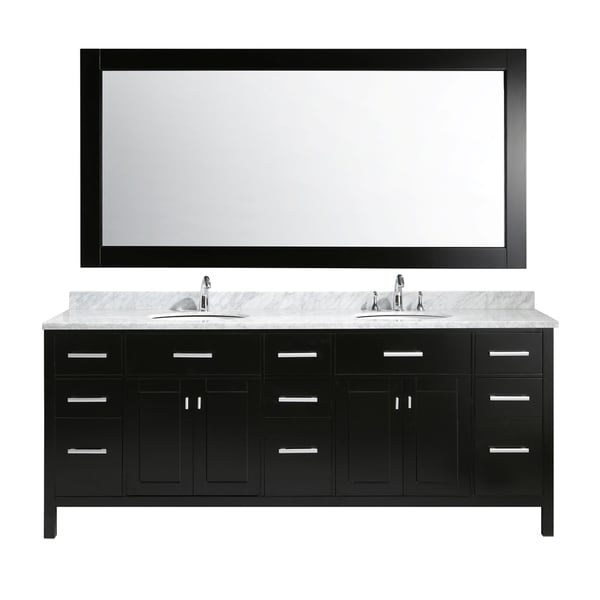 Amazing Design Element London 84 Inch Double Sink Vanity Set In Espresso Finish