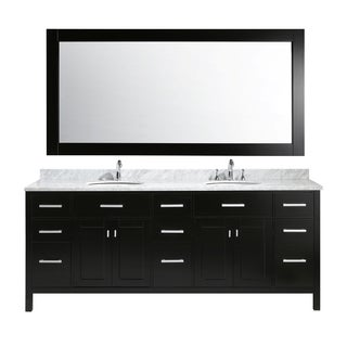 Design Element London 84-inch Double Sink Vanity Set in Espresso Finish