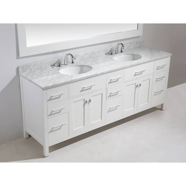 84 Inch Double Sink Vanity Set In White