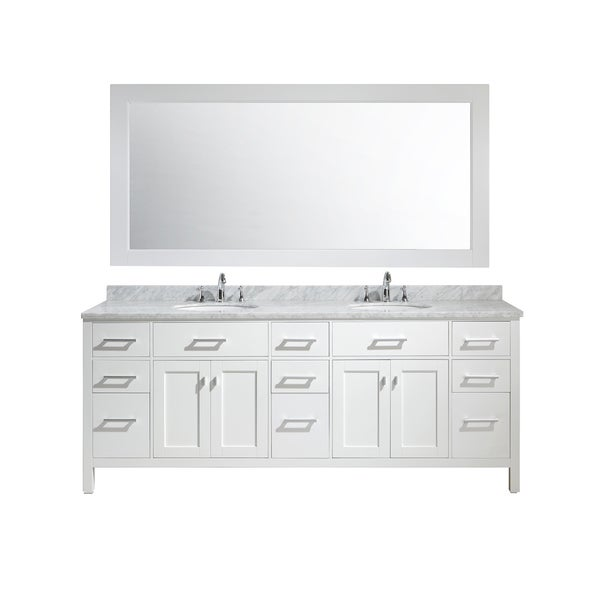 Design Element London 84 Inch Double Sink Vanity Set In White Finish Free Shipping Today