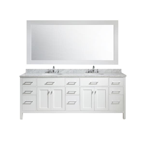 Shop Design Element London 84 Inch Double Sink Vanity Set In White