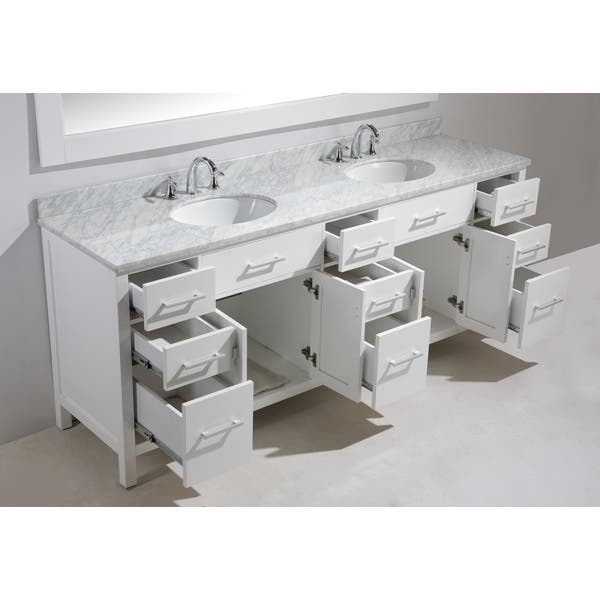 Double Sink Vanity Set In White Finish