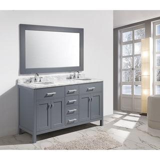 Design Element London 61 Inch Double Sink Vanity Set In Grey Finish