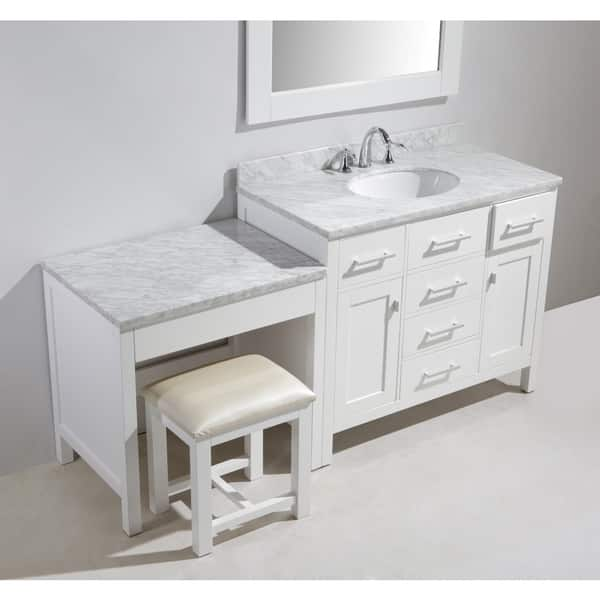 Design Element London 72 Inch Single Sink White Vanity Set With Makeup Table And Bench Seat Overstock 10521852