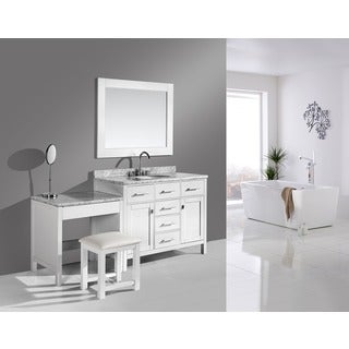 Design Element London 72-inch Single Sink White Vanity Set with Makeup Table, and Bench Seat