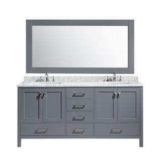 Design Element London 72-inch Double Sink Vanity Set in Grey Finish