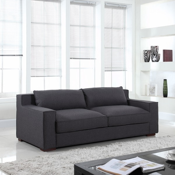 Modern Linen Fabric Sofa with Wide Track Arms and Deep Seat Free