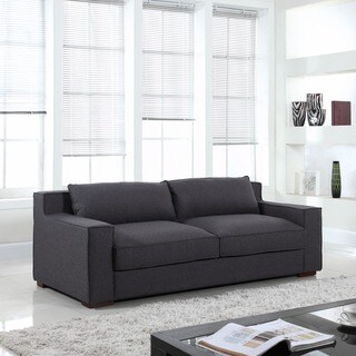 Modern Linen Fabric Sofa with Wide Track Arms and Deep Seat