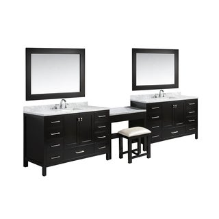 Design Element London 138-inch Single Sink Espresso Vanity Set with Makeup Table, and Bench Seat
