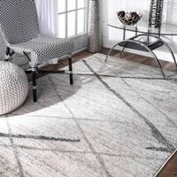 Porch & Den Williamsburg Iris Trellis Stripes Grey Rug (8'6 x 11'6)