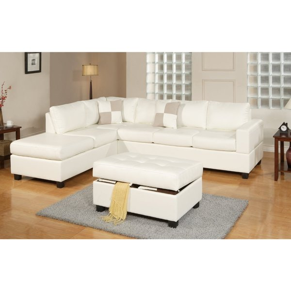 3 piece modern white bonded leather reversible sectional for Large 3 piece sectional sofa