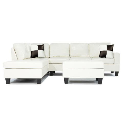 Modern White Bonded Leather Reversible Sectional Sofa Set with Ottoman