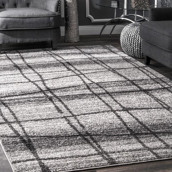 nuLOOM Contemporary Trellis Grey Rug (7'6 x 9'6)