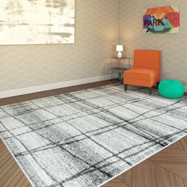 Porch & Den Williamsburg Scholes Abstract Trellis Grey Rug - 8'6 x 11'6