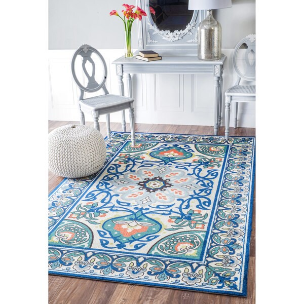 Nuloom Modern Persian Printed Floral Blue Rug 5 X 8