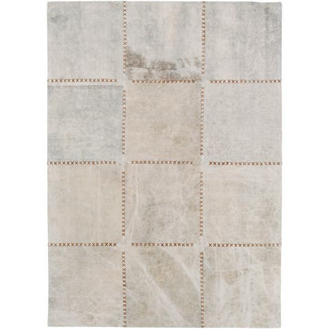Hand-Crafted Thirsk Crosshatched Indoor Cotton Area Rug - 5' x 7'6""