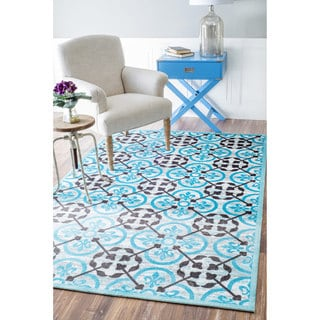 nuLOOM Modern Lattice Printed Floral Blue Rug (5' x 8')