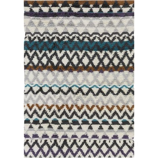Hand-Woven Hornsey Tribal New Zealand Wool Area Rug - 5 x 8 (Multi-Color - 5 x 8)