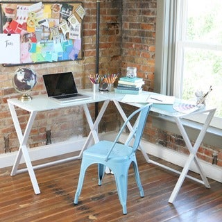X-frame Glass & Metal L-Shaped Computer Desk -White/White
