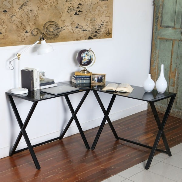 X-frame Glass and Metal L-Shaped Computer Desk - Free Shipping Today ...